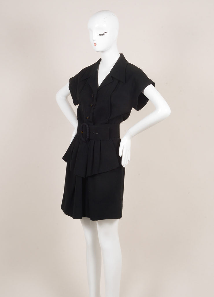 Chanel Black Knit Pleated Button Up Peplum Belted Short Sleeve Dress Sideview