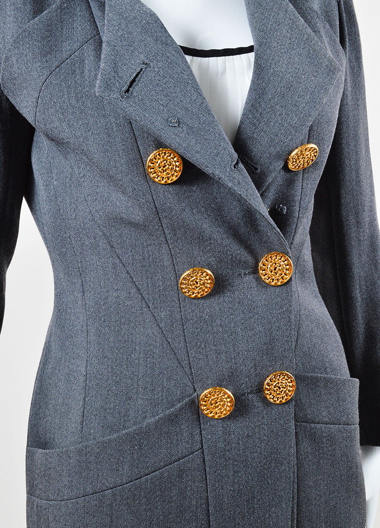 Chanel Grey Wool Double Breasted Blazer Detail