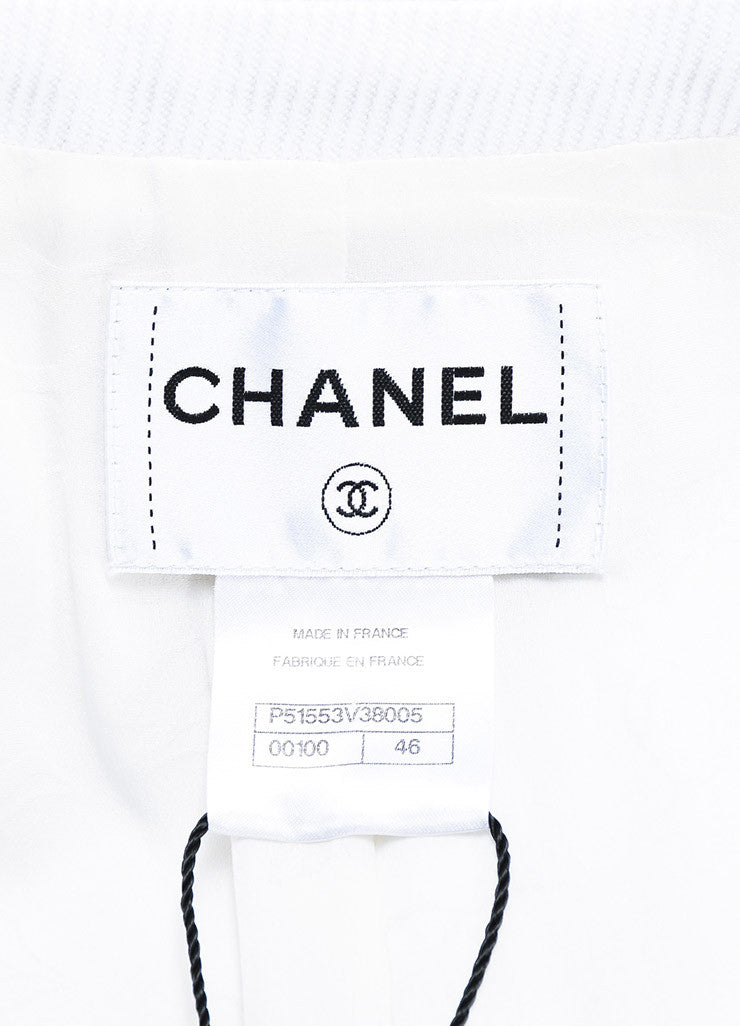 Chanel White Cotton Ribbed Pink Buttons Collared Jacket Brand