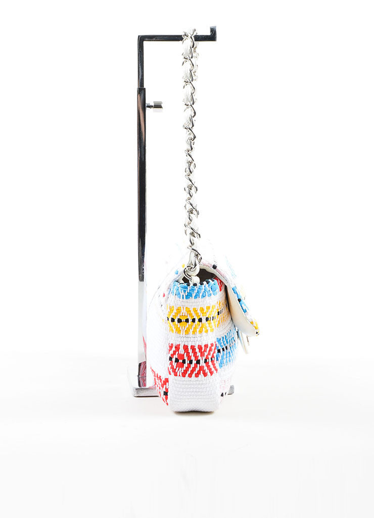 "White and Multicolor Chanel Woven Embroidered Ribbon Flap ""CC"" Turnlock Flap Bag Sideview"
