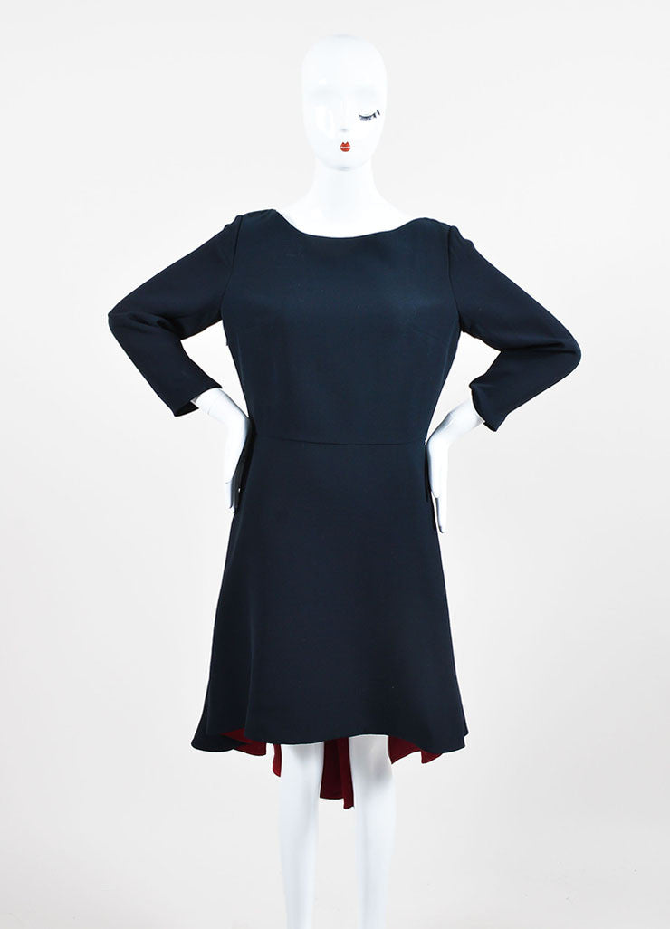Black and Red Christian Dior Silk and Wool Contrast Lining Dress Frontview