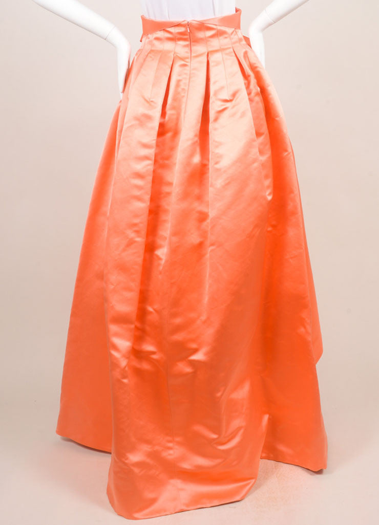 Christian Dior Coral Silk Full Ball Skirt Backview