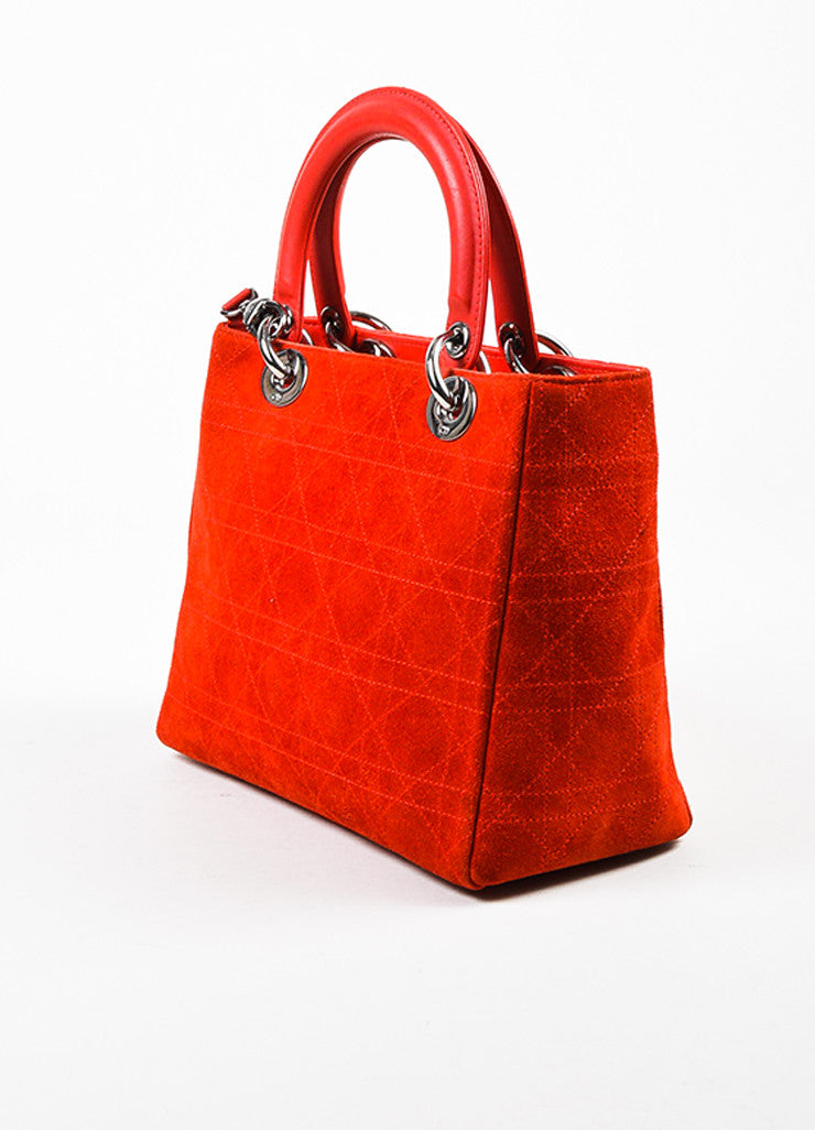 "Red Christian Dior Suede Quilted Medium ""Lady Dior Cannage"" Bag Side"