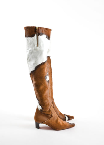 Christian Louboutin Brown and White Pony Hair Over the Knee Boots Sideview