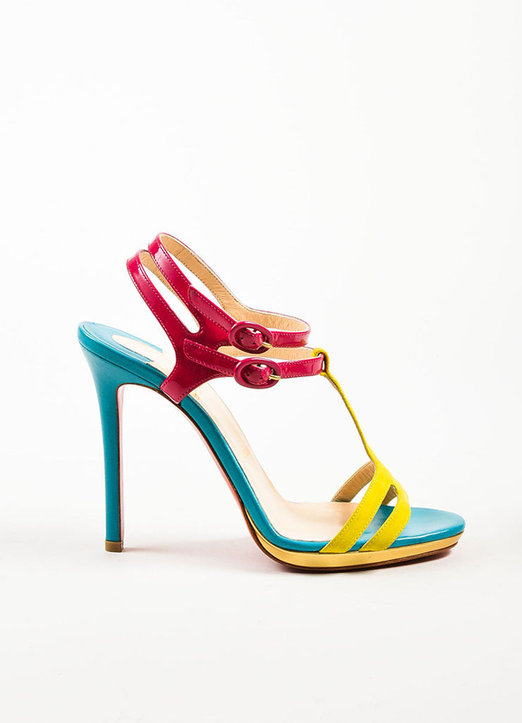 "Christian Louboutin Pink and Blue Leather T-Strap ""Double Tutti"" Sandals Sideview"