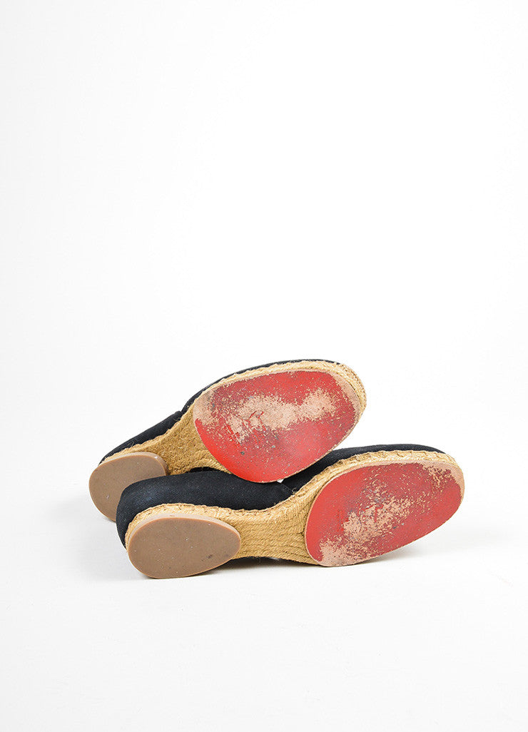"Black and Taupe Christian Louboutin Canvas Jute Flat ""Bailarina"" Espadrilles Outsoles"