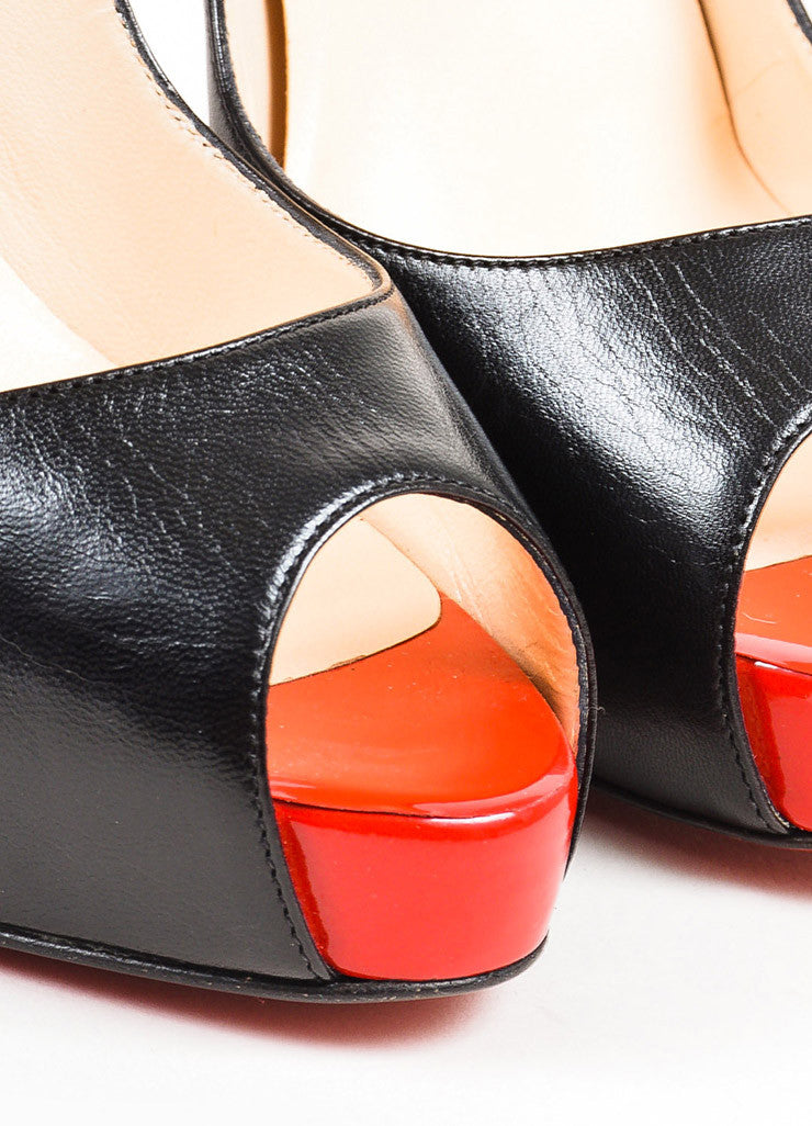 "Christian Louboutin Black and Red Leather Peep Toe ""Very Prive"" Pumps Detail"
