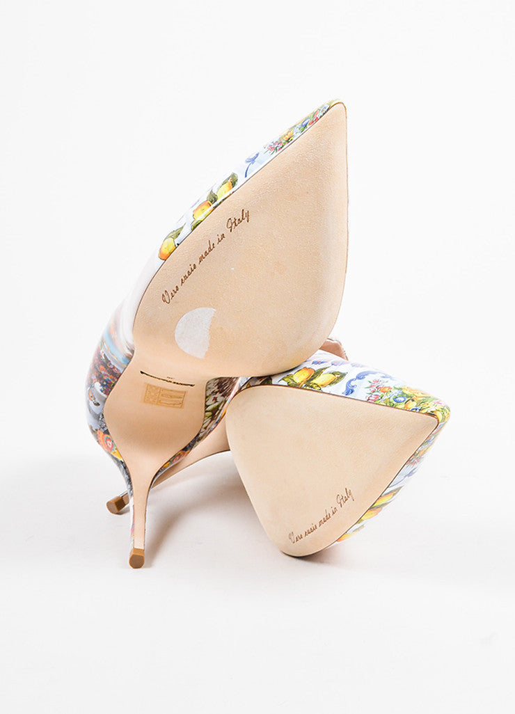 Dolce & Gabbana Beige and Multicolor Leather Print Pointed Toe Pumps Outsoles