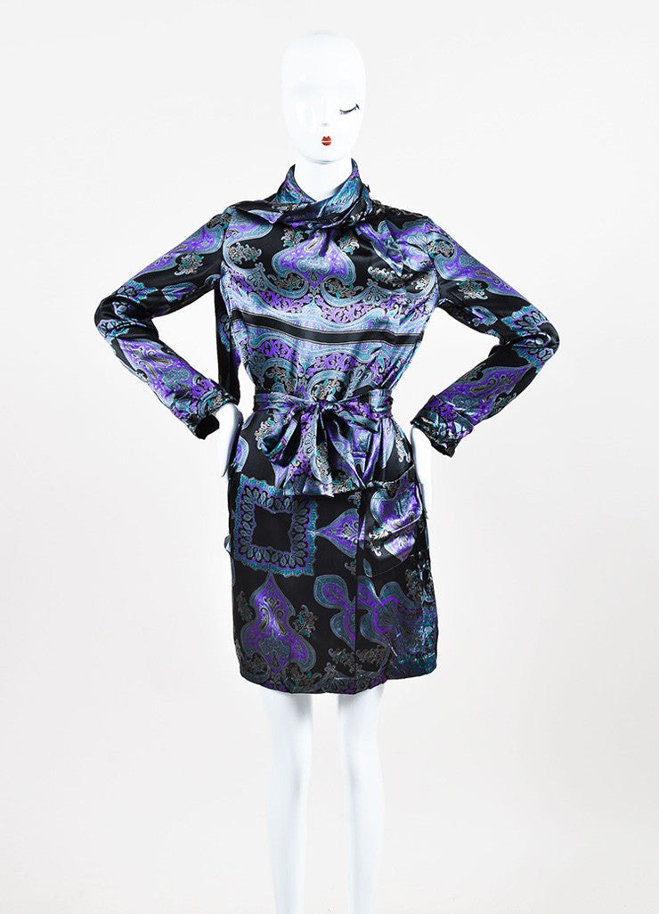 Grey, Purple, and Black Etro Silk Paisley Print Tie Neck Long Sleeve Dress Frontview