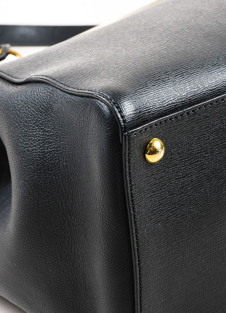 "Fendi Black Leather Gold Toned Hardware Structured ""2 Jours Shopper"" Shoulder Bag Detail"
