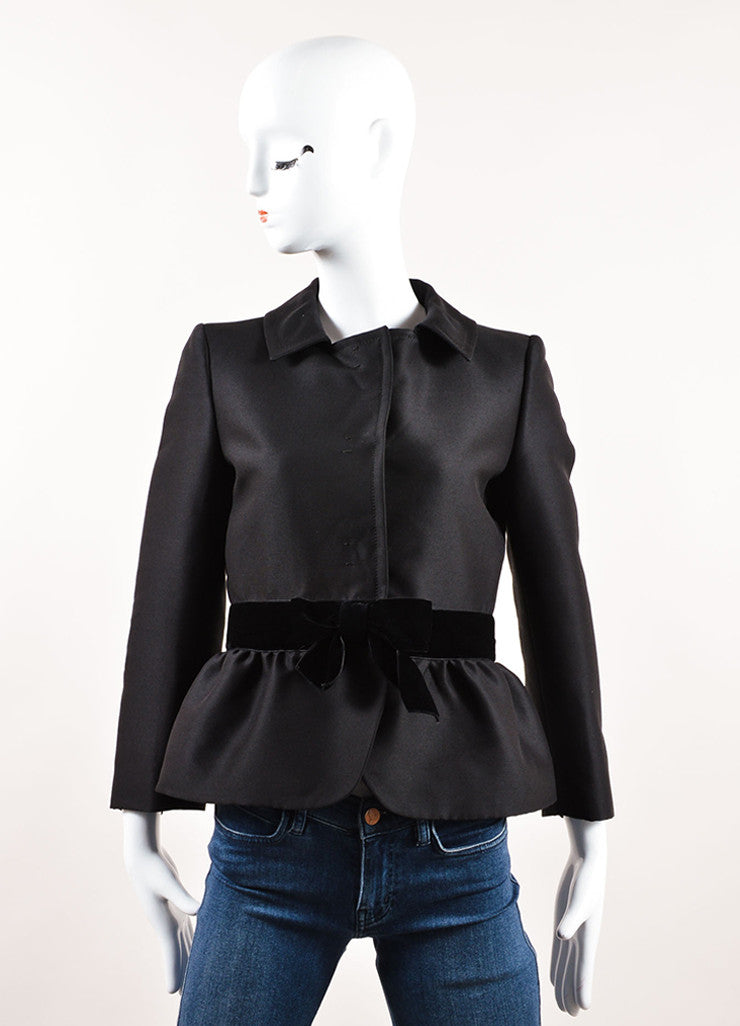 Giambattista Valli Black Wool and Silk Velvet Bow Blazer Frontview
