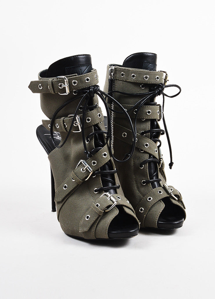 Giuseppe Zanotti Green and Black Canvas and Leather Buckled Peep Toe Booties Frontview