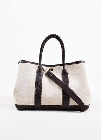 "White and Dark Brown Hermes Toile TPM ""Garden Party"" Tote Front"