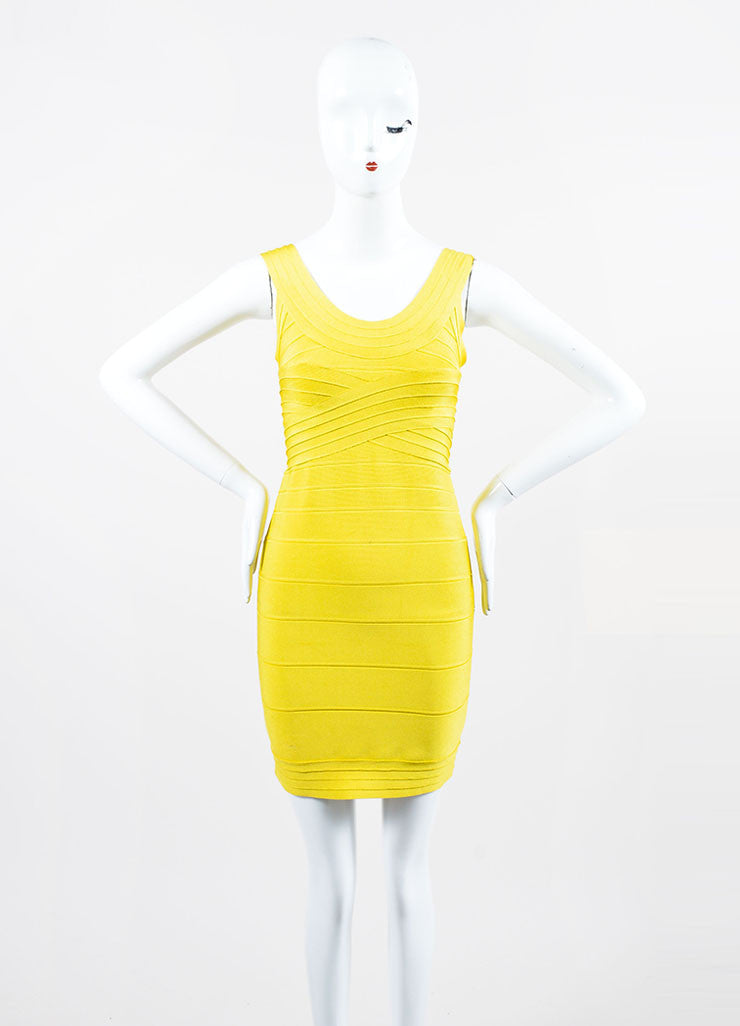 Yellow Herve Leger Bandage Stretch Knit Sleeveless Bodycon Dress Frontview