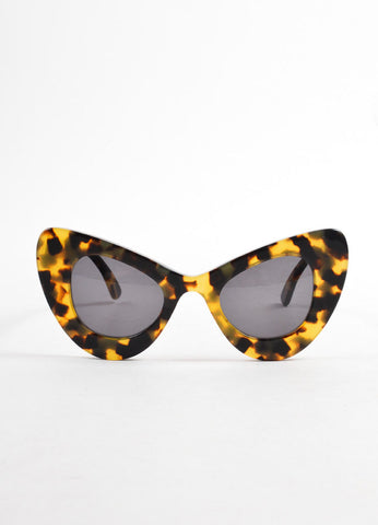 Illesteva + Zac Posen Tan and Brown Tortoise Shell Cat Eye Sunglasses  Frontview