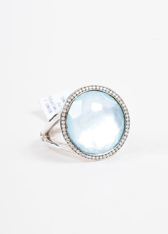 Sterling Silver Ippolita Diamond Blue Topaz 'Lollipop' Ring Front