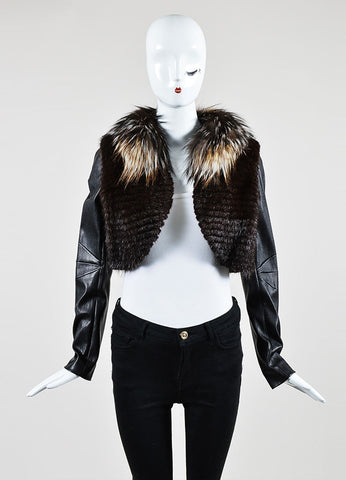Black and Brown J. Mendel Leather and Fur Detachable Sleeve Cropped Jacket Vest Frontview