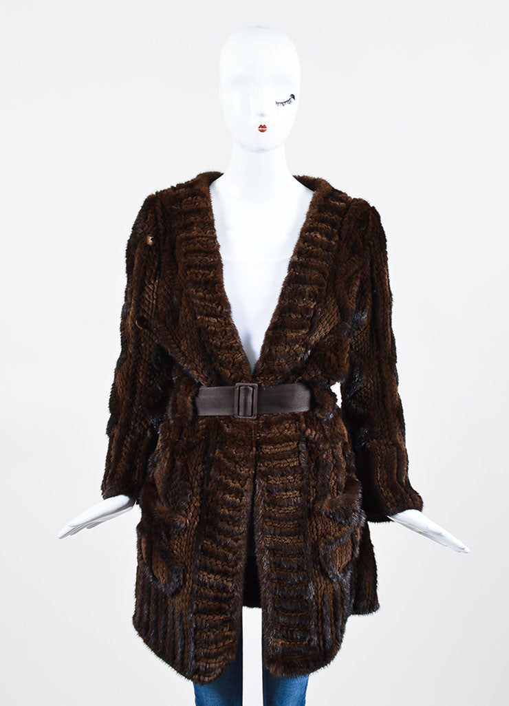 Dark Brown J. Mendel Fur Quilted and Cabled Shawl Lapel Belted Coat Frontview