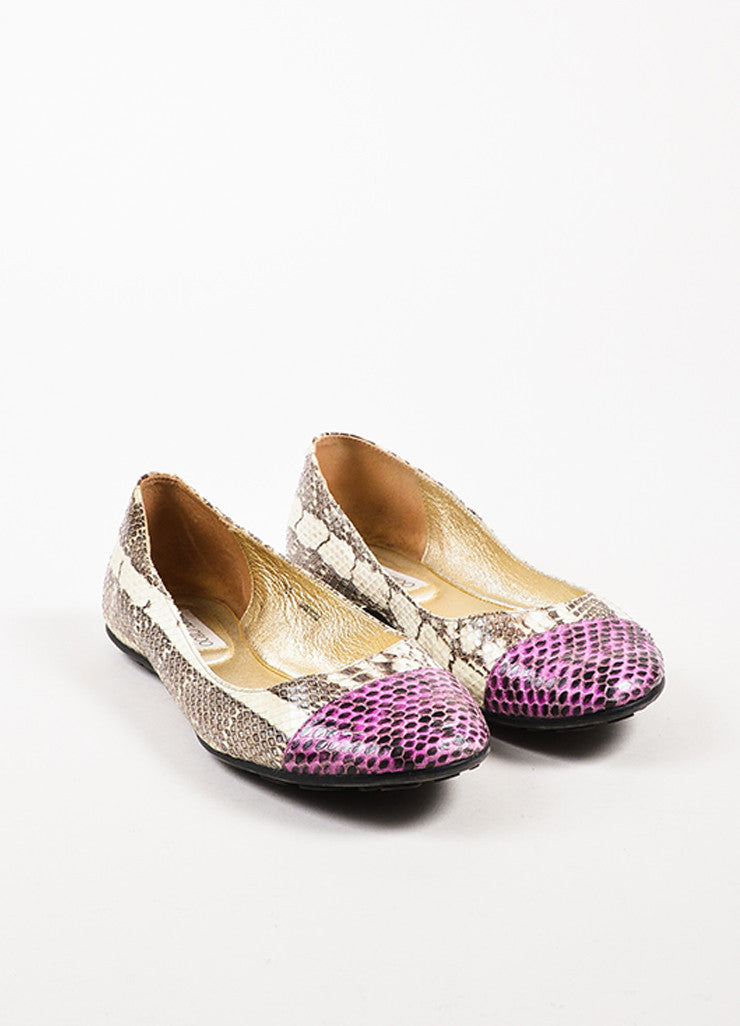 "Jimmy Choo Cream and Purple Snakeskin Cap Toe ""Whirl"" Ballet Flats Frontview"