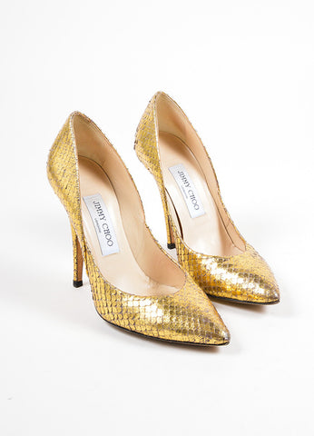 Metallic Gold Jimmy Choo Python Pointed Toe Pumps Frontview