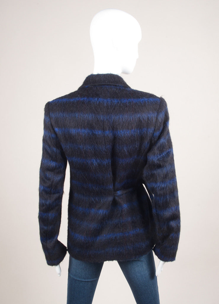 Kenzo New With Tags Blue and Black Wool Striped Wrap Jacket Backview
