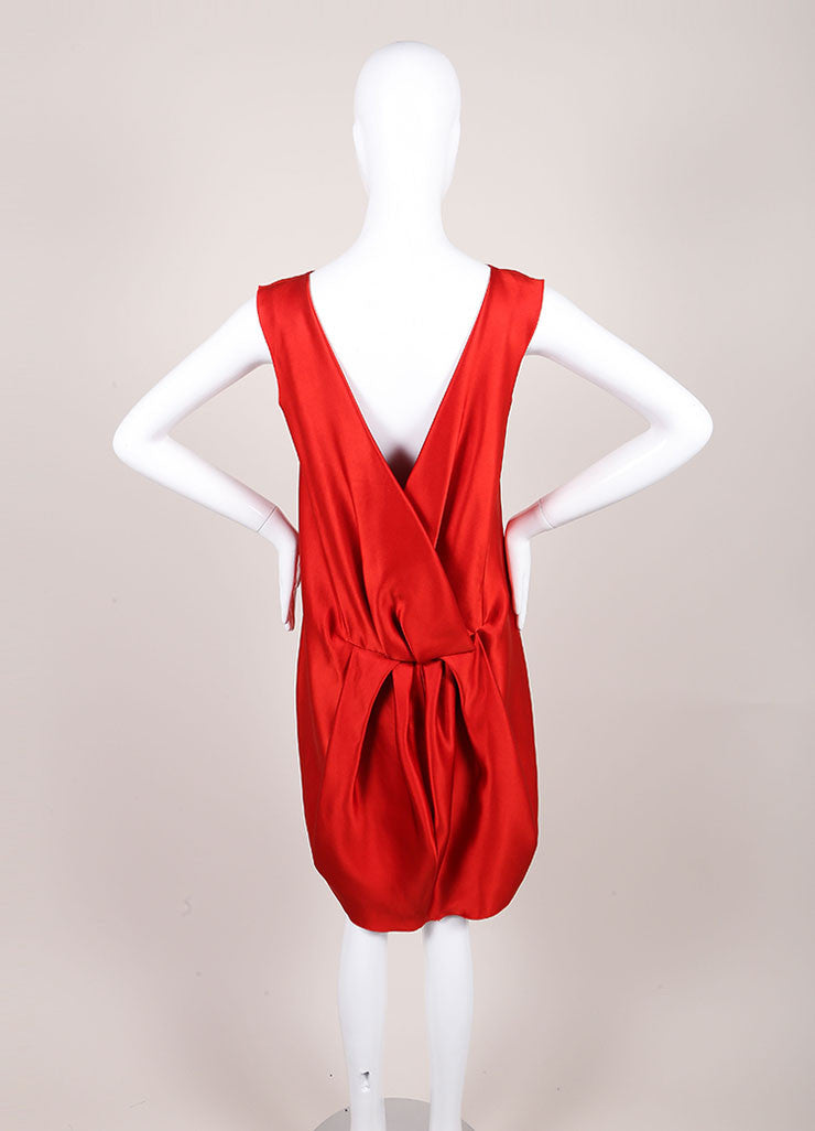 Lanvin Red Silk Draped Back Sleeveless Shift Dress Backview