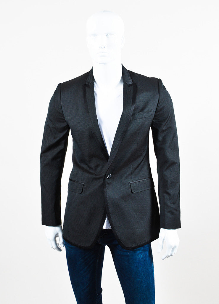 Men's Dolce & Gabbana Black Diamond Patterned Evening Jacket Front 2