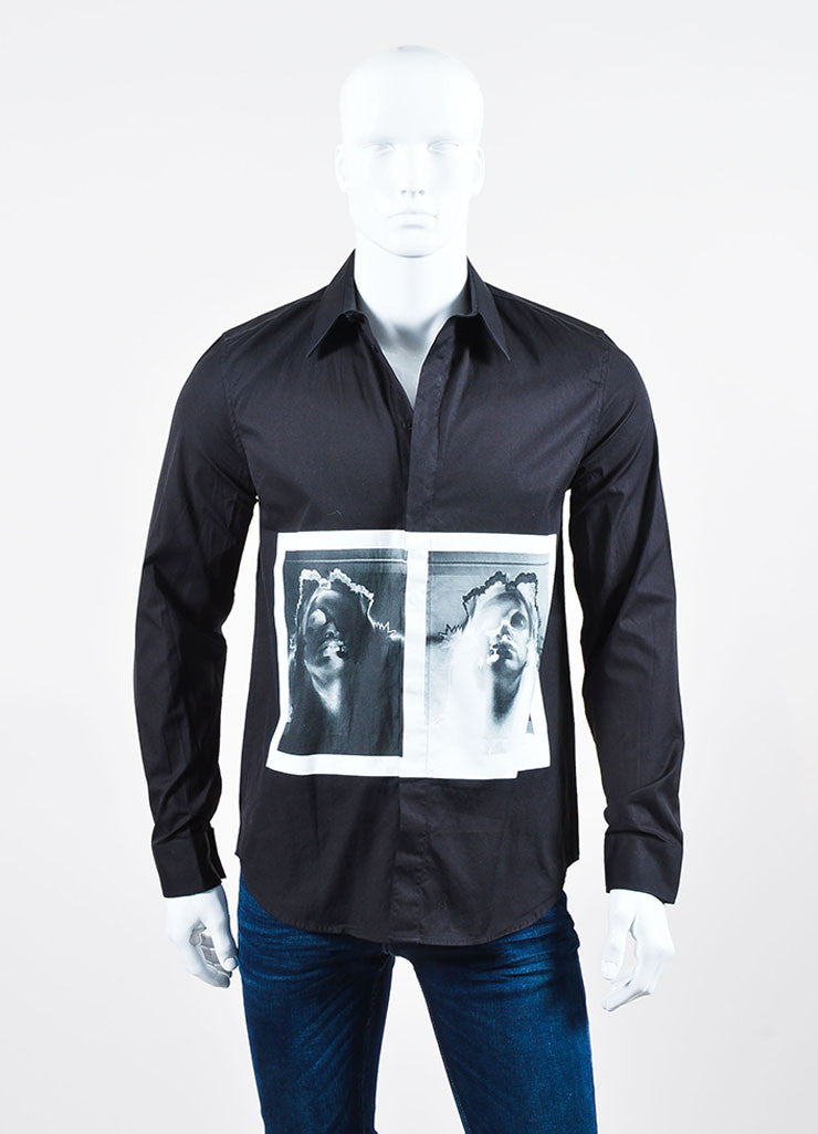 Men's Givenchy Black and Grey Skull X-Ray Print Button Down Shirt Frontview
