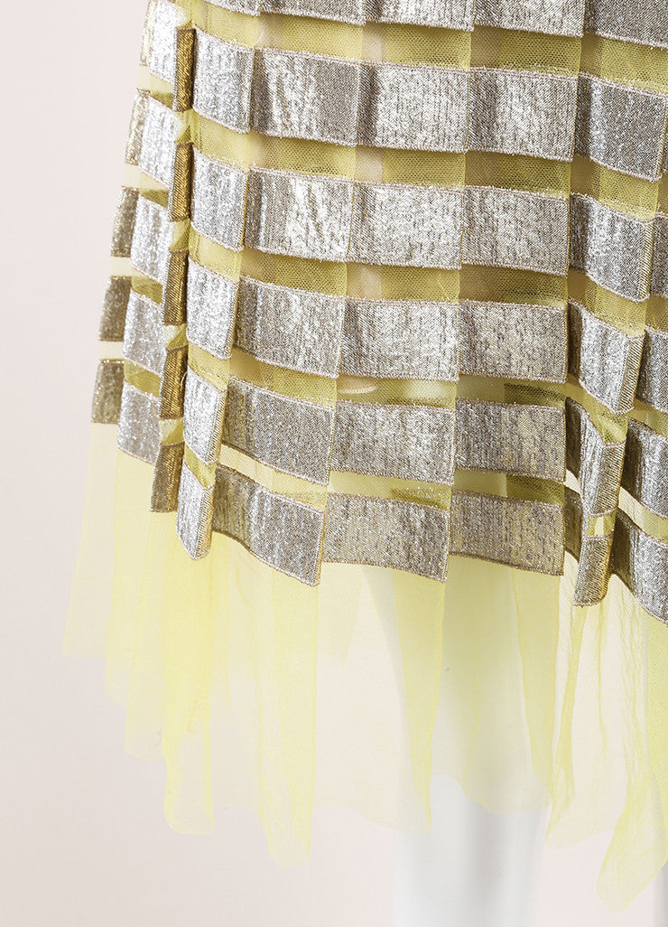 Marc Jacobs Yellow and Gold Metallic Striped Pleated Sleeveless Dress Detail