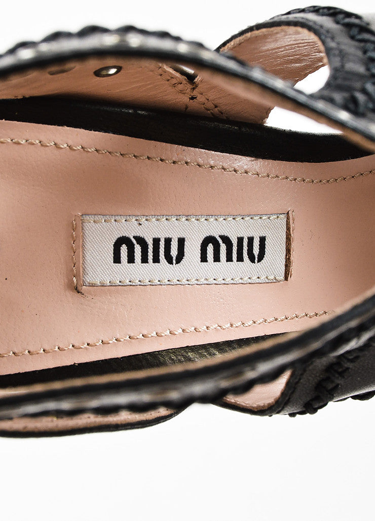 Miu Miu Black Leather Lace Up Grommet Sandal Heels Brand