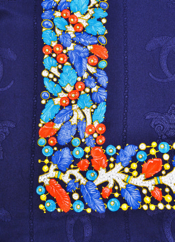 Must de Cartier Navy and Multicolor Silk Jewel Leaf Embossed Printed Scarf Detail