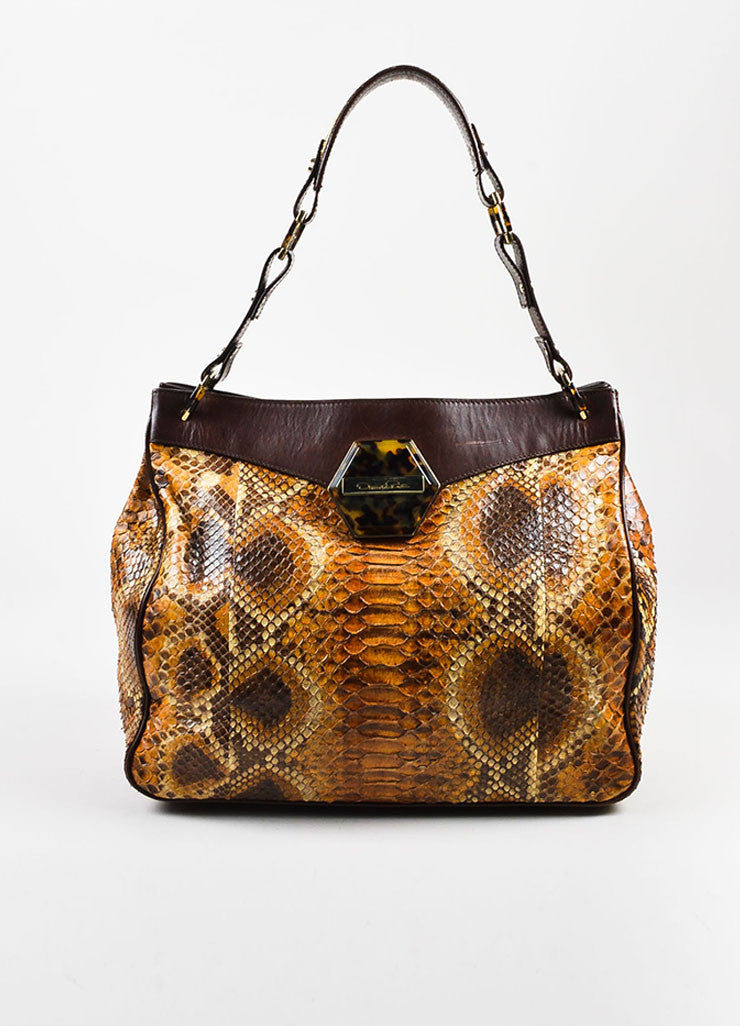 Oscar de la Renta Brown Python Leather Trim Shoulder Tote Bag Frontview