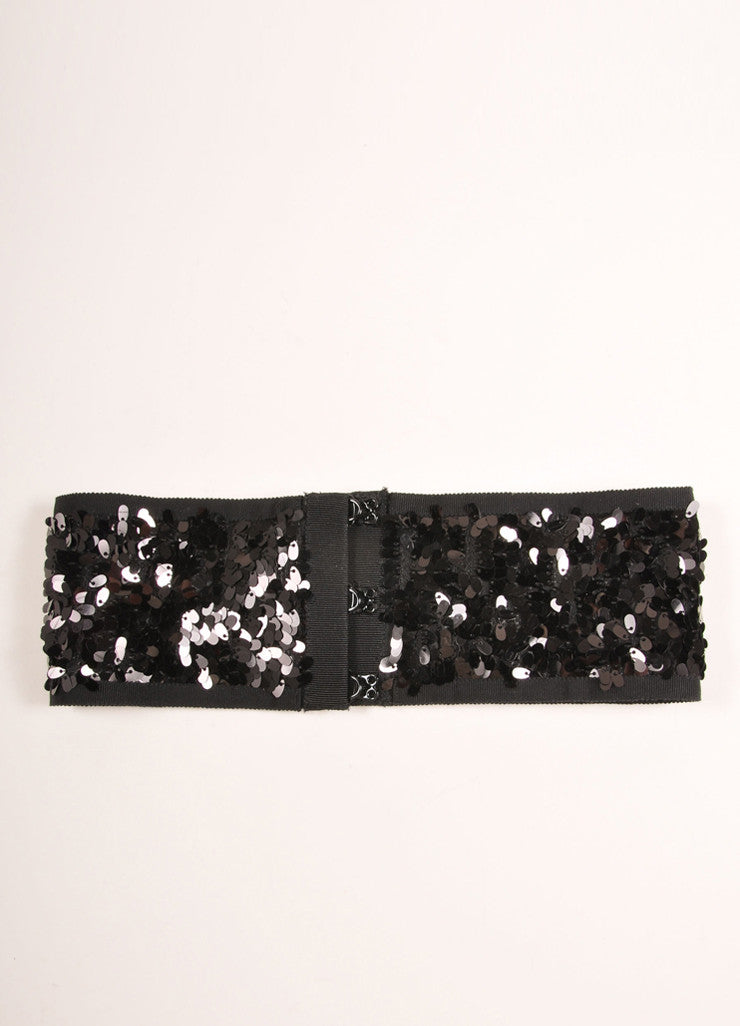 Philosophy di Alberta Ferretti Black Stretchy Sequin Jewel Embellished Belt Backview