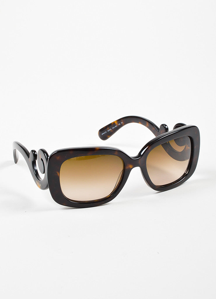 "Brown Prada Tortoise Frame Square Lenses ""Baroque"" Sunglasses Sideview"