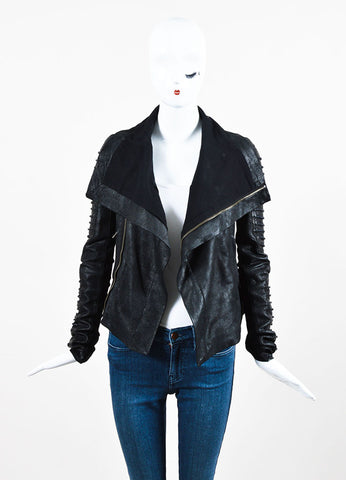 Rick Owens Black Coated Leather and Wool Laced Sleeve Asymmetrical Jacket Frontview