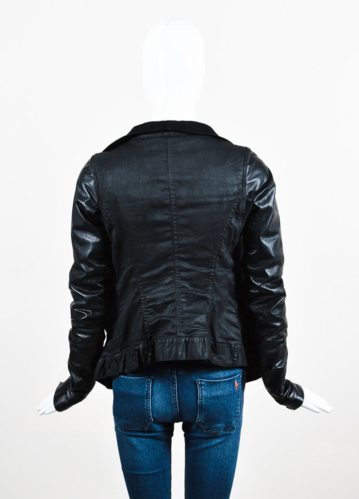 Rick Owens Black Waxed Denim Leather Sleeve Buttoned Jacket Backview