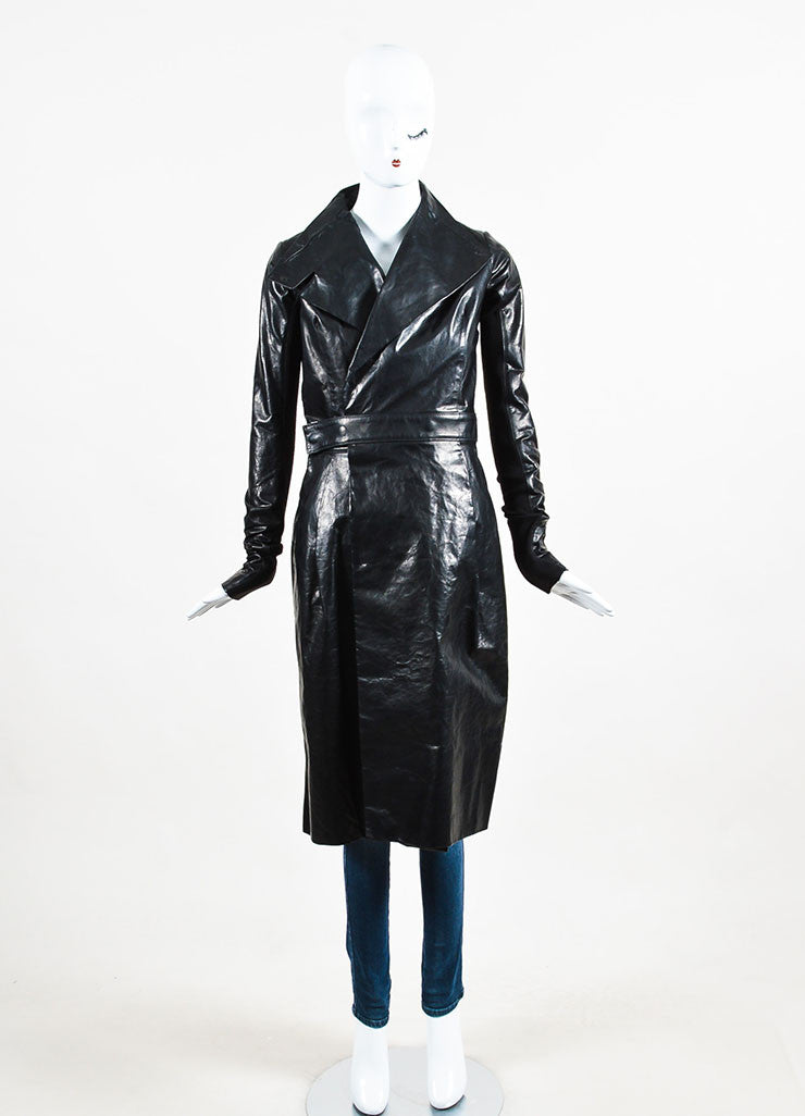 "Black Rick Owens Leather ""Salon"" Trench Coat Front"