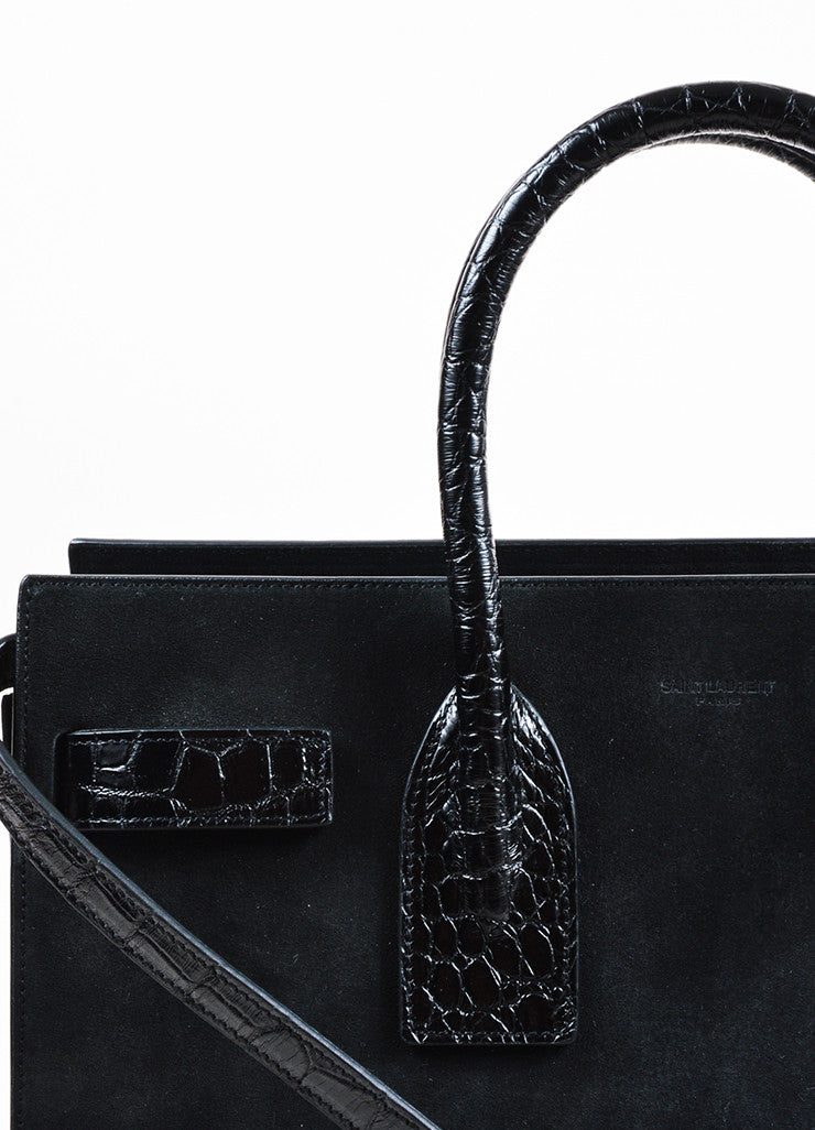 "Black Saint Laurent Suede Embossed Leather Small ""Sac de Jour"" Tote Detail 3"