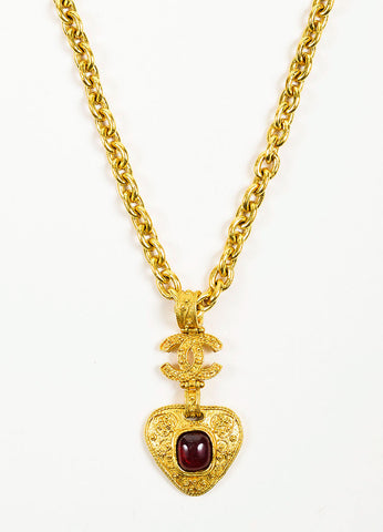 Gold Toned and Red Gripoix Stone Chanel 'CC' Logo Pendant Necklace Detail