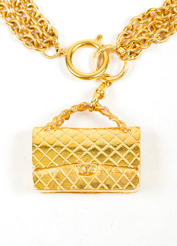 Gold Toned Chanel 'CC' Flap Bag Multi-Strand Necklace Pendant