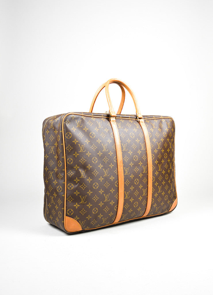 "Brown Louis Vuitton Monogram Canvas ""Sirius 55"" Luggage Travel Bag Sideview"