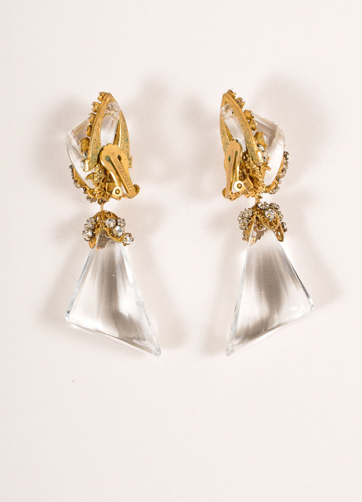 Miriam Haskell Gold Toned and Clear Lucite Drop and Rhinestone Earrings Backview