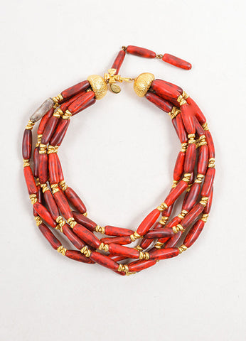 William DeLillo Red and Gold Toned Multistrand Beaded Choker Necklace Frontview