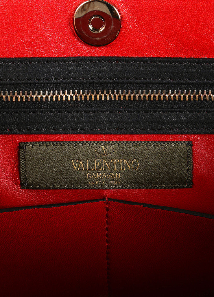 "Valentino Red and Black Leather and Canvas Camo Medium Soft ""Rockstud"" Tote Bag Brand"
