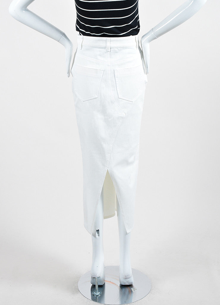 White ‰ۢÌöÌÛVictoria Beckham Jeans Denim Slit Midi Pencil Skirt Backview
