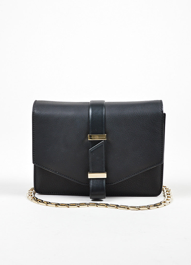 Black Victoria Beckham Leather Mini Chain Satchel Bag Frontview