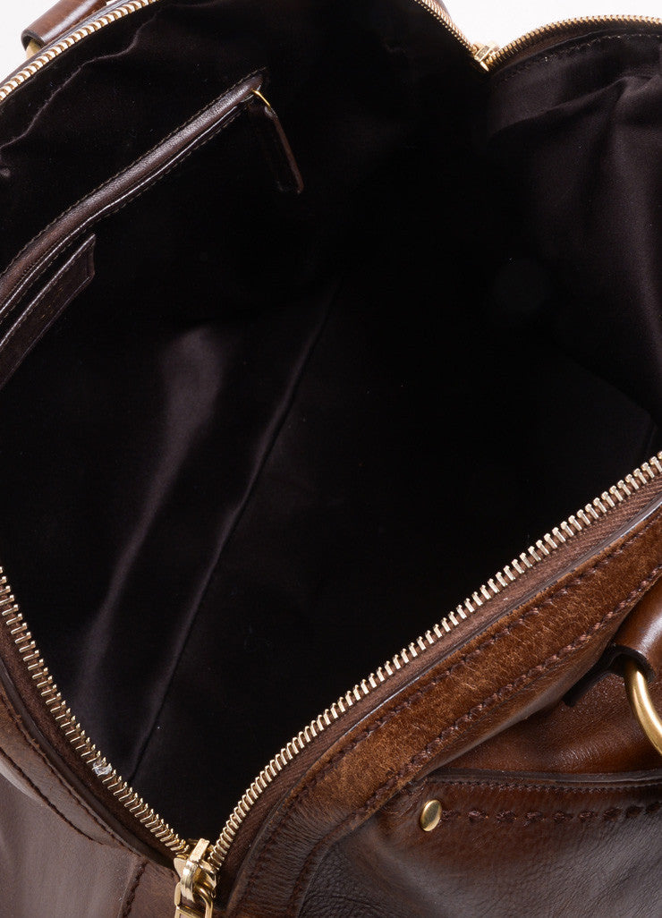 "Yves Saint Laurent Brown Leather ""Muse"" Shoulder Bag Interior"
