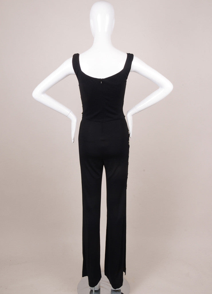 Black Rhinestone Detail Cutout Jumpsuit