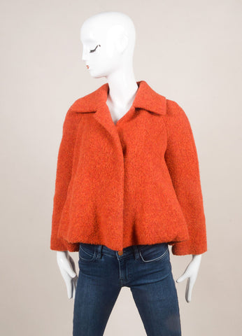 Akris New With Tags Red Alpaca Short Swing Jacket Frontview
