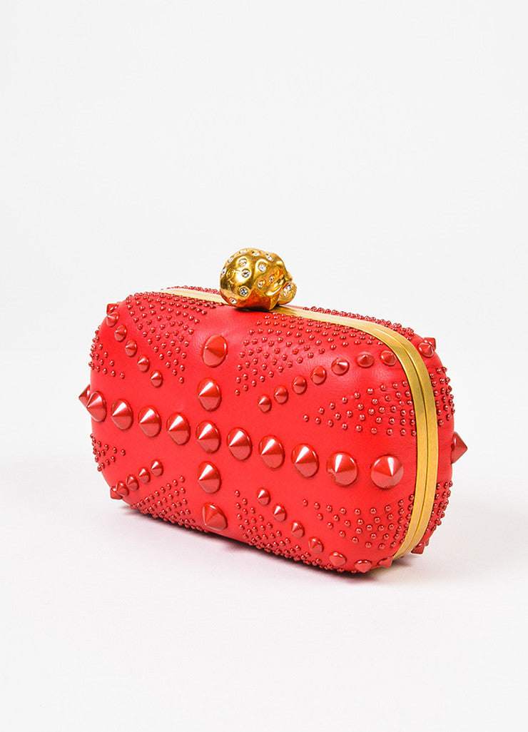 "Alexander McQueen Red Spike Studded ""Britannia Classic Skull"" Clutch Bag Sideview"
